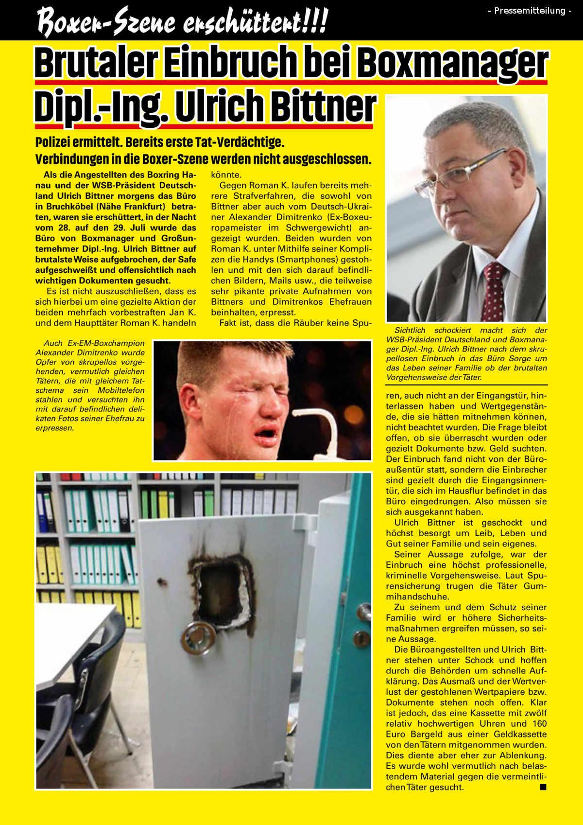 Pressemitteilung Einbruch Ulrich Bittner